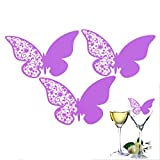 LADEY 50Pcs Laser Cut Butterfly Paper Name Place Card/Escort Card/Wine Glass Decoration Card for Wedding Party,Dining,Restaurant,Banquet Hotel Wine Glass Decoration(Purple)