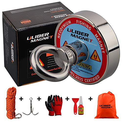 ULIBERMAGNET 400lbs 700lbs Fishing Magnet N52 Neodymium Magnets with 20m(66Feet) Durable Rope,Powerful Magnets for Fishing and Magnetic Recovery Salvage