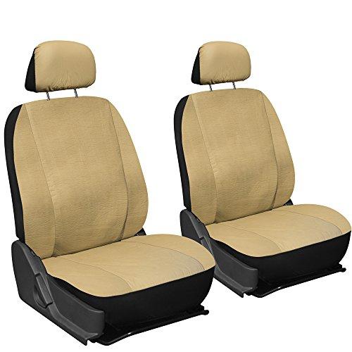 Oxgord Leatherette Bucket Seat Cover Set for CarTruckVanSUV, Airbag , Tan Black
