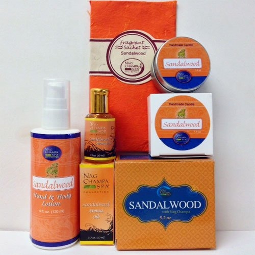 (Sandalwood Lovers Spa Gift Set- Lotion, Soap, Oil, Candle &)