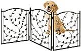 Bundaloo Freestanding Metal Folding Pet Gate | Large Portable Panels for Dog & Cat Security | Foldable Enclosure Gates for Puppies | Indoor & Outdoor Safety for Pets (Black Rustic, Metallic Leaf)
