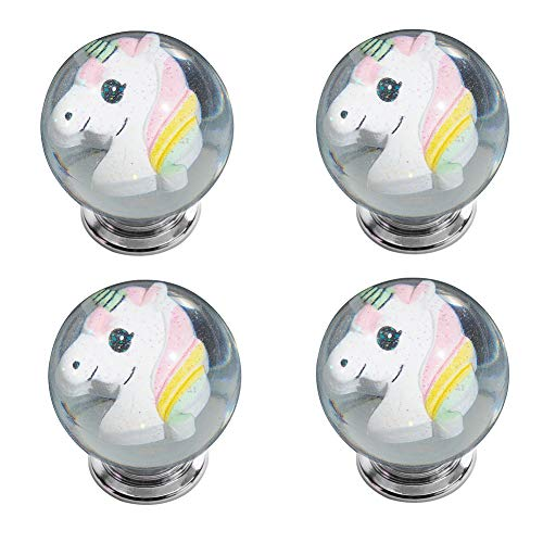 - IFOLAINA Unicorn Kitchen Cabinet Knobs Kids Drawer Handles Round Pulls Cupboard Dresser Bookcase with 3 Size Screws 4 Pack