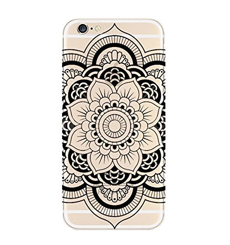 DECO FAIRY Compatible with iPhone 6 / 6s, Henna Flower Floral Black Mandala Lace Series PVC Hard Cover Case                  ()