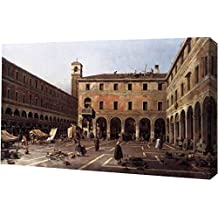 """The Campo di Rialto by Canaletto - 13"""" x 19"""" Gallery Wrapped Giclee Canvas Art Print - Ready to Hang"""
