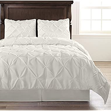 Pinch Pleat White Color Cal-King Size 4-Piece Comforter Set, Bed Cover by Cozy Beddings