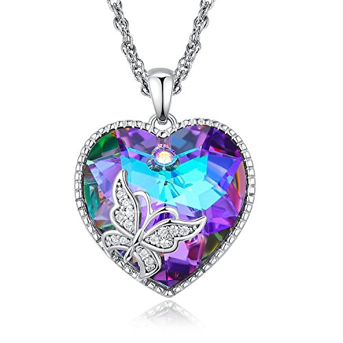 NEWNOVE Angel Wing Necklaces for Women Love Heart Pendant Necklace Gifts for Women Girls (A_Purple Butterfly) (Butterfly Pendant Purple)