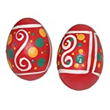 X8 Drums & Percussion Pink Wooden Egg Shaker with Hand Painted Design