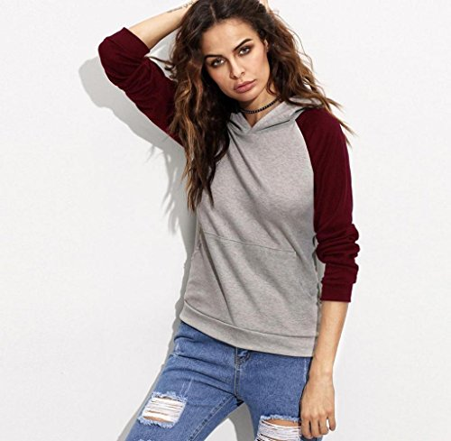 Rcool Damen Langarm Baumwolle Mischung Hoodie Sweatshirt Pullover lässig Kapuzenpullover Rot