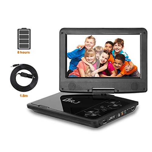 """5 Hours DR.J 9.5"""" Swivel Screen Portable DVD Player with Build-in Rechargeable Battery and USB/SD Card Reader"""