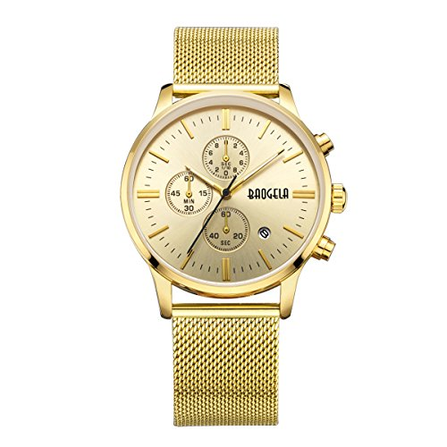 Baogela Mens Gold Sports Watch with Mesh Stainless Steel Band Waterproof Fashion Military Analog Chronograph...