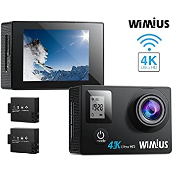 WIMIUS Q4 4K Action Camera WIFI Dual Screen Waterproof Sports Camera 16MP 170° Wide Angle Waterproof Case,2PCS Batteries And 20 Extra Kits Included-Black
