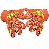 Goalkeeper Goalie Soccer Gloves - Kids & Youth Football Goal Keeper Gloves with Embossed Anti-Slip Latex Palm and Soft PU Hand Back (Orange, 5)