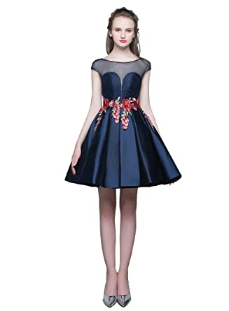 aeeb2d026da Beauty-Emily Backless Lace Flower Cap Sleeve Pleated Short Dresses ...