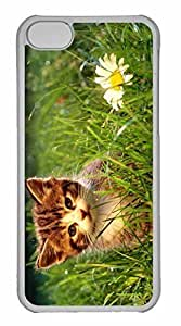 iPhone 5C Case, Personalized Custom Cute Kitten Near A Flower for iPhone 5C PC Clear Case