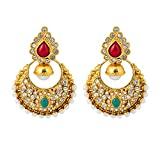 Touchstone Indian Bollywood Multicolor Chand Bali Moon Jewelry Earrings in Antique Gold Tone for Women