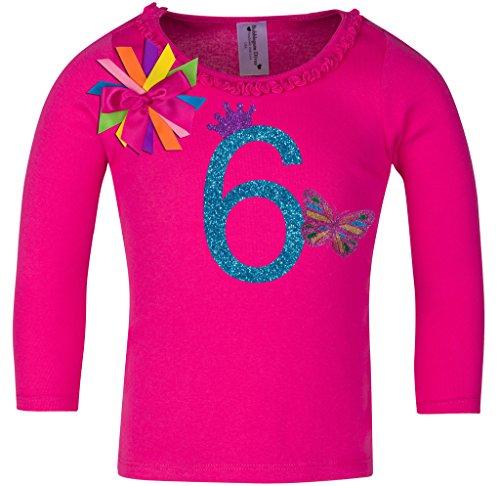 Birthday Diva T-shirt (Bubblegum Divas Little Girls' 6th Birthday Butterfly Hot Pink Ruffle Long Sleeve Shirt)
