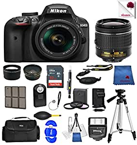 Nikon D3400 24.2 MP DSLR Camera (Black) w/ AF-P DX NIKKOR 18-55mm f/3.5-5.6G VR Lens + 55mm Wide Angle Lens + 2x Telephoto Lens + Case + 32GB SD Memory Card + UV + Tripod + Ultimate Accessory Bundle