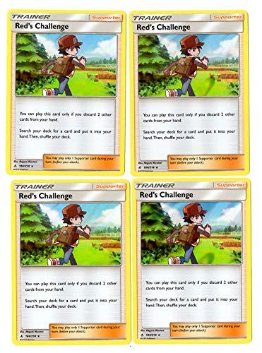 Trainer Card Play Set - Red's Challenge 184/214 - Sun Moon Unbroken Bonds - 4 Card Lot