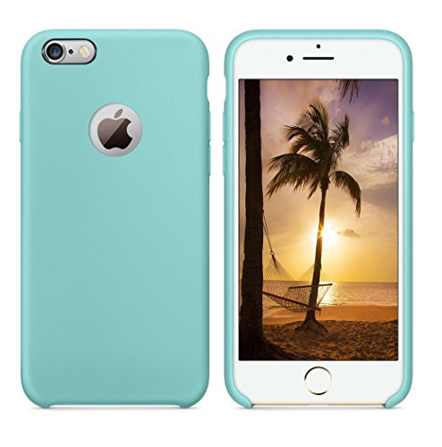 iPhone 6S Case, iPhone 6 Case, Feceir [LOVE Series] Liquid Silicone Gel Rubber Shockproof Case with Soft Microfiber Cloth Lining Cushion (iPhone 6S,6 - Mint)