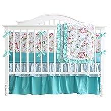 Teal Green Flowers 7pcs crib set Baby Bedding Set Crib Bedding Set Girl Nursery Crib Bumper bedding
