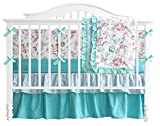 Teal Green Flowers 3pcs crib set Baby Bedding Set Crib Bedding Set Girl Nursery Crib bedding NO Bumper