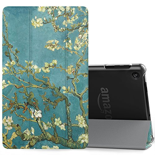 MoKo Case Fits Amazon Fire HD 8 Tablet (7th/8th Generation, 2017/2018 Release) -Lightweight Slim Shell Stand Cover with Translucent Frosted Back for Fire HD 8, Almond Blossom (with Auto Wake/Sleep)