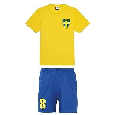 457471f291d Printmeashirt Kids Customisable Sweden Sverige Style Football kit Shirt and  Shorts Home: Amazon.co.uk: Clothing