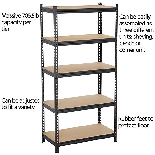 706lb Each Layer Black Yaheetech 5-Tier Metal Garage Shelves Storage Rack Shelf Unit Boltless Rivet Rack 73.2in H x 35.4in W x 17.7in Deep