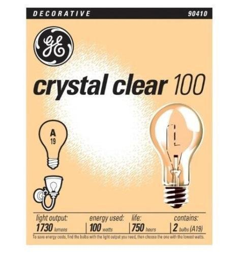 Crystal Clear Light Bulb - GE 90410 Decorative crystal clear general purpose A19, 100 watt, 24 pack