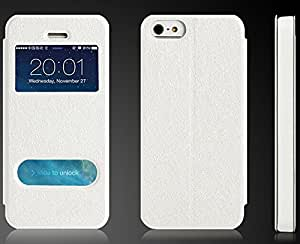 Ottery Leather Holster Case Cover Wallet Case Mobile Phone Case Women Flip Pu Case Cover Clamshell Case for Iphone 5/5s-white