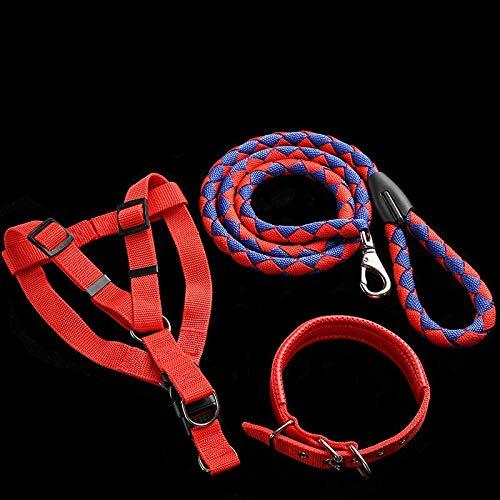 YSDTLX Cinghia per Cani al Guinzaglio per Cani con Corda di Iena in Grande Cuccia per Cani in Tre Pezzi XL E Rosso