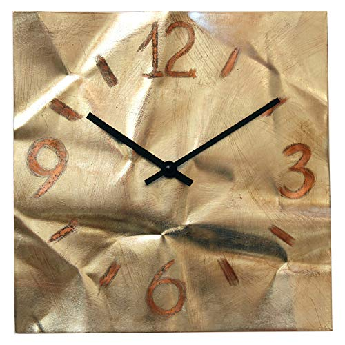 Large Square Copper Wall Clock 12-inch - Silent Non Ticking Gift for Home/Office/Kitchen/Bedroom/Living Room