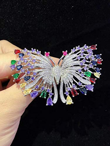 LTH12 Hair Jewelry,Brooches & Body Jewelry - Multicolor Zircon Butterfly Brooch Wholesale Beads Nature Unique 1 PCs ()