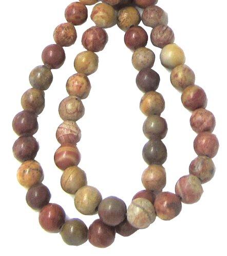 3 Chinese Rainbow Jasper Semi precious Beads, 6mm round 10-Inches/25cm ()