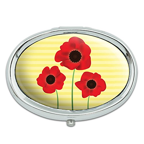 Red Poppies Flower Metal Oval Pill Case Box