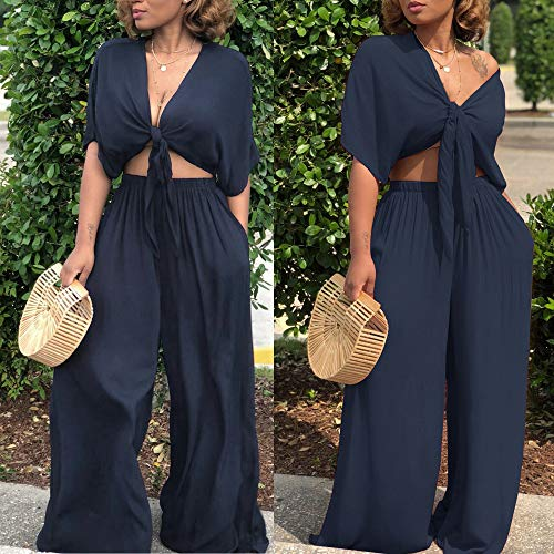Womens Sexy 2 Piece Outfits Short Sleeve V Neck Strappy Crop Tops Solid Flowy Wide Leg Palazzo Pants with Pockets Soft Breathable Summer Casual Suits