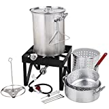 Backyard Pro 30 Qt. Deluxe Aluminum Turkey Fryer Kit/Steamer Kit - 55,000 BTU + Many Accessories Thanksgiving Propane Outdoor Cooking