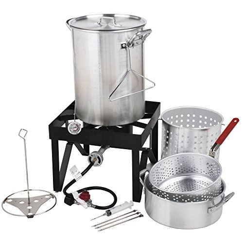 Cooper & Co Backyard Pro Deluxe 30 qt Aluminum Turkey Fryer Steamer Kit | 55000 BTU Cast Iron Liquid Burner | for Barbecues Fair Clam Bake Pot Heavy Duty 20lbs Capacity | Ideal for Outdoor Propane Coo