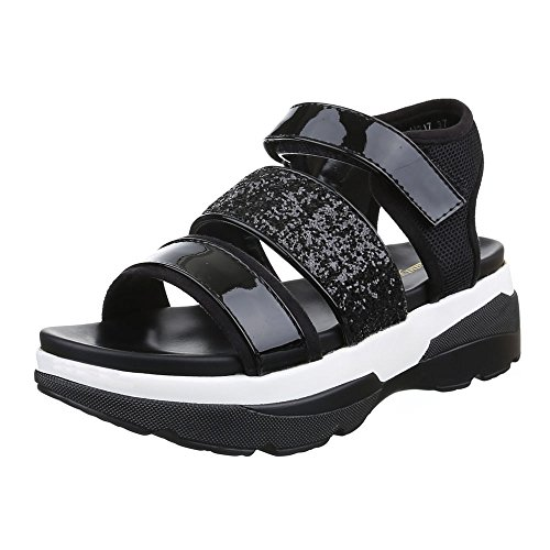 Ital-Design Damen Schuhe, H217, Sandalen Plateau Glitter Schwarz