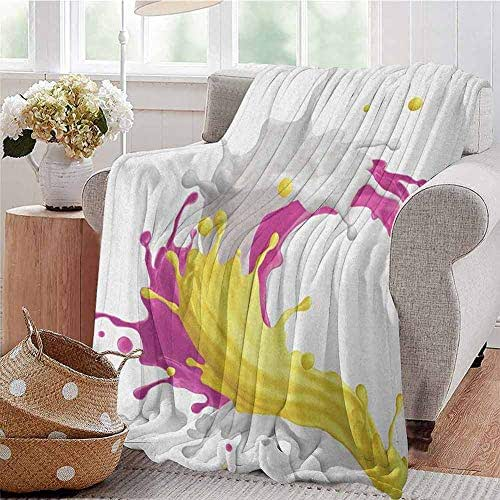 Luoiaax Colorful Commercial Grade Printed Blanket Mixed Fruit Drink Splash Photo Strawberry Banana Milk Sweet Fountain Queen King W57 x L74 Inch Pink Yellow and White