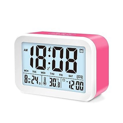 Smart LED reloj despertador, reloj despertador digital, 3 modos de alarma y 7 alarmas