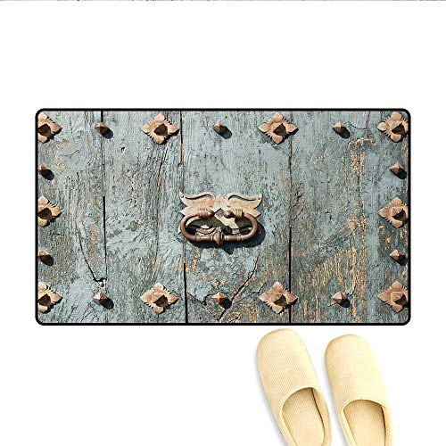 Bath Mat,European Cathedral with Rusty Old Door Knocker Gothic Medieval Times Spanish Style,Door Mats Area Rug,Turquoise,Size:32