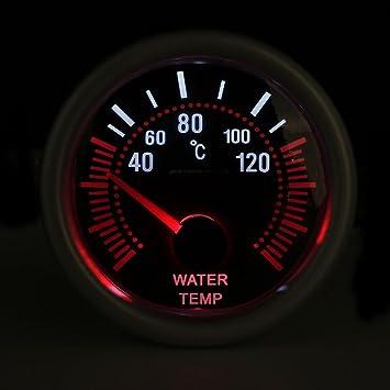 Mengonee Shell gris 52mm universal 12V LED de humo Len 40~120 Temperatura de agua Grado calibrador del metro metro del coche: Amazon.es: Bebé