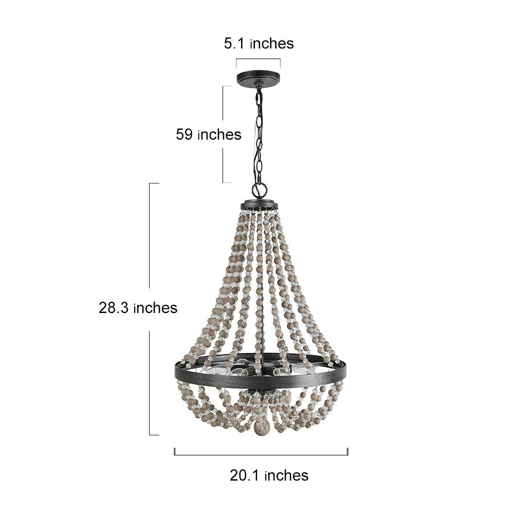 LALUZ 6-Light Wood Bead Empire Chandelier, Pendant Lighting Fixture for Kitchen Island, Natural Wood Beads, 28.3''H x 20.1''W by LALUZ (Image #2)