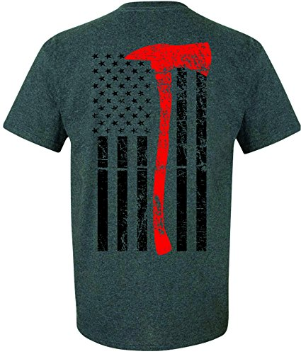 Patriot Apparel Thin Red Line T-Shirt Axe Design (Medium, Dark Grey)