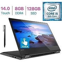 "Lenovo Flex 5 14"" FHD Touch 2-in-1 Laptop PC, 8th Gen Intel Quad Core i5-8250U, 8GB DDR4 RAM, 128GB SSD, Backlit keyboard, Fingerprint reader, Bluetooth,Lenovo Active Pen,Windows 10"