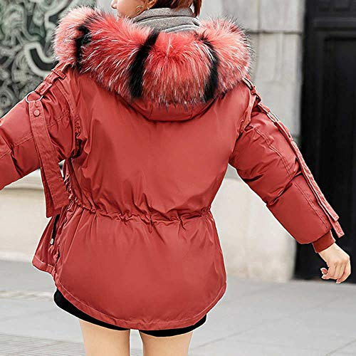 Outerwear Loose Pullover Overcoat Faux Coat Hooded Red Winter Slim Women Padded Jacket Jumper vpass Warm Thick Zipper Cotton Fur vqwXIxTY