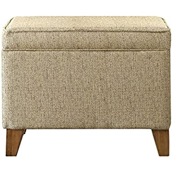 Kinfine Upholstered Storage Ottoman With Hinged Lid, Textured Tan