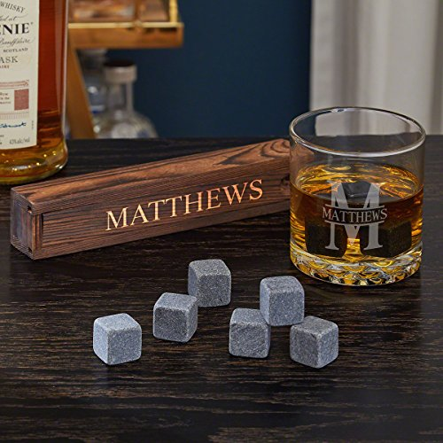 Oakmont Personalized Whiskey Glass & Stone 9-piece Gift Set by Home Wet Bar for Whiskey, Bourbon or Scotch - Glass Engraved Piece