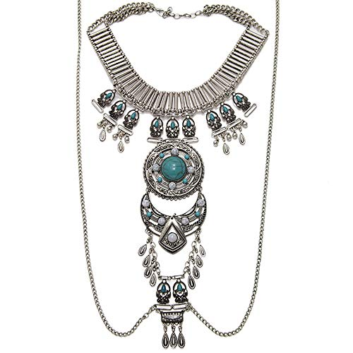 (MOONWELL Bohemian Body Chain Jewelry Statement Necklace for Women)